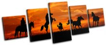 Horses Cowboy Sunset Animals - 13-1797(00B)-MP07-LO